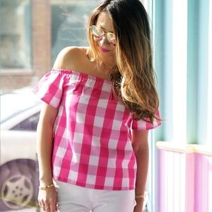 Tops - Pink Gingham Off The Shoulder Shimmery Top S